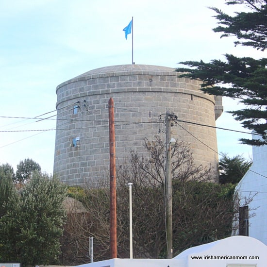 The Dalkey Martello tower with a blue flag on top