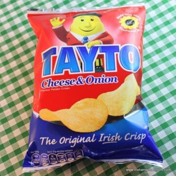 A red and blue package of potato chips