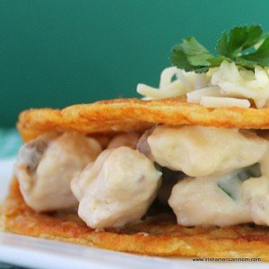 Cheesy chicken and mushroom stuffed boxty for Saint Patrick's Day cooking