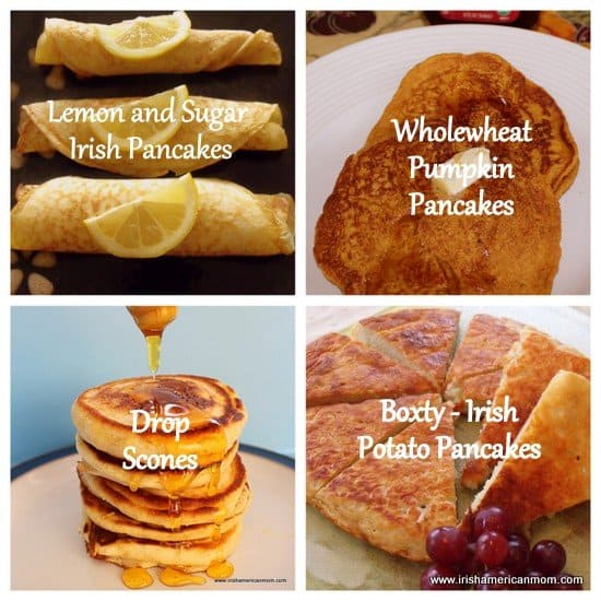 A collage of pancakes including lemon and sugar Irish pancakes, pumpkin pancakes, drop scones and boxty