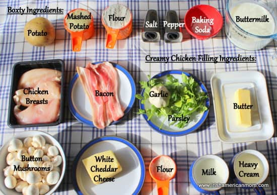 Ingredients for chicken, bacon and mushroom stuffed boxty