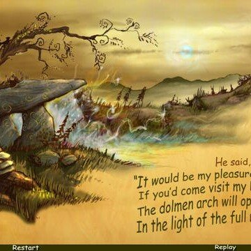 Irish children's book with an illustration of a fairy tree and a dolmen called The Sunbeam Path