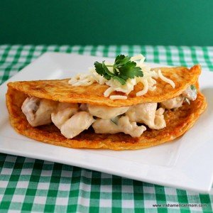 An Irish potato or Boxty pancake filled with savory cheesy chicken and mushroom filling
