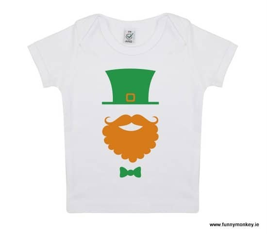 Green Leprechaun hat and orange beard with a green bowtie graphic on a Saint Patrick's Day T-Shirt for Children
