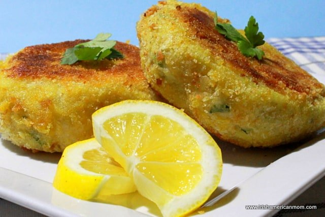 Breadcrumb coated golden brown Irish cod fish cakes