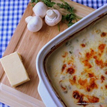 A casserole dish with an Irish seafood casserole