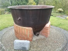 A Famine Pot on display in Nenagh in County Tipperary in Ireland