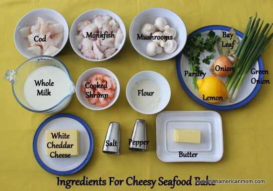 Ingredients for cheesy seafood bake