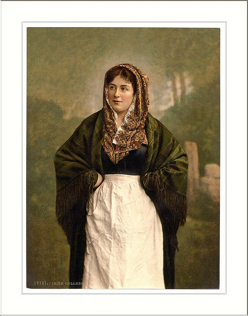 Vintage image of an Irish colleen wearing a shawl