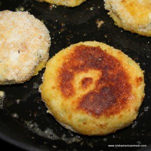 Cooking Irish cod fish cakes in a skillet