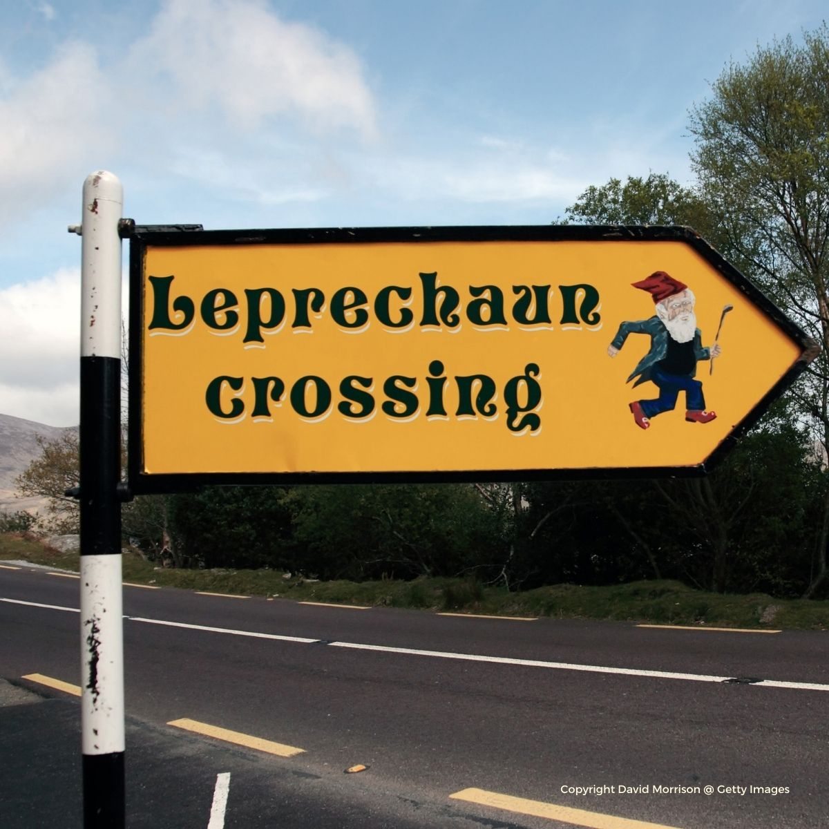 Leprechaun crossing road sign