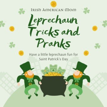 Graphic featuring two leprechauns holding a pot of gold with text overlay