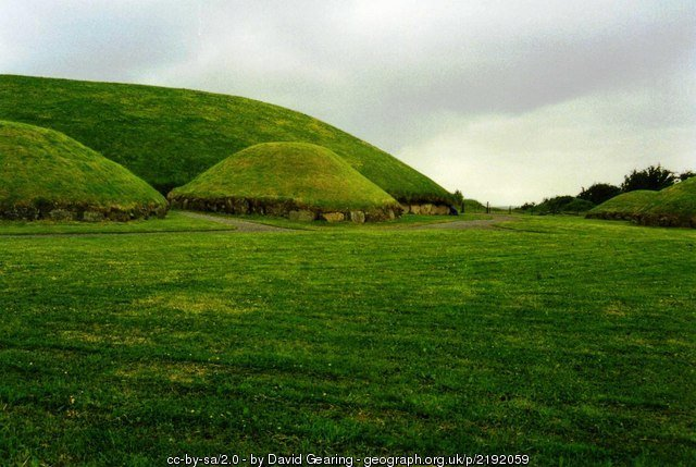 Main burial chamber at Knowth surrounded by satellite tombs
