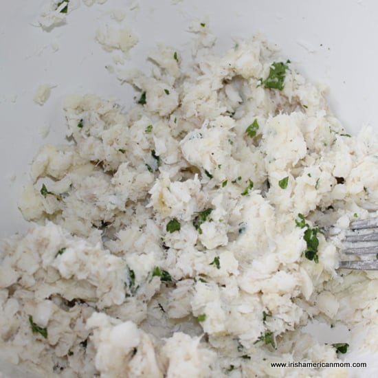 Mixture for cod fish cakes in a bowl