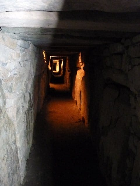 Passage leading to the burial chamber at Knowth megalithic tombs, County Meath