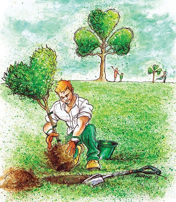 A man plants a heart shaped tree in Ireland