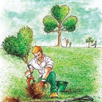 Cartoon image of a man planting a heart tree with a shamrock tree in the background
