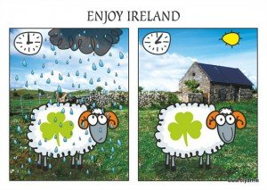 Sheep graphic showing rain and sunshine within minutes in Ireland