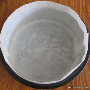 Using parchment paper to line a baking tin for Easter Simnel Cake