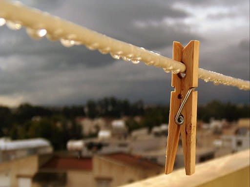 Clothes peg or pin on the line after rain