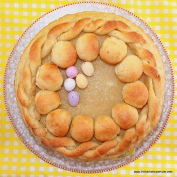 Toasted marzipan on top of an Easter Simnel Cake