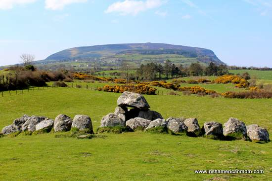 A dolmen and stone circle in Carrowmore below the Mountain of Knocknarea in County Sligo