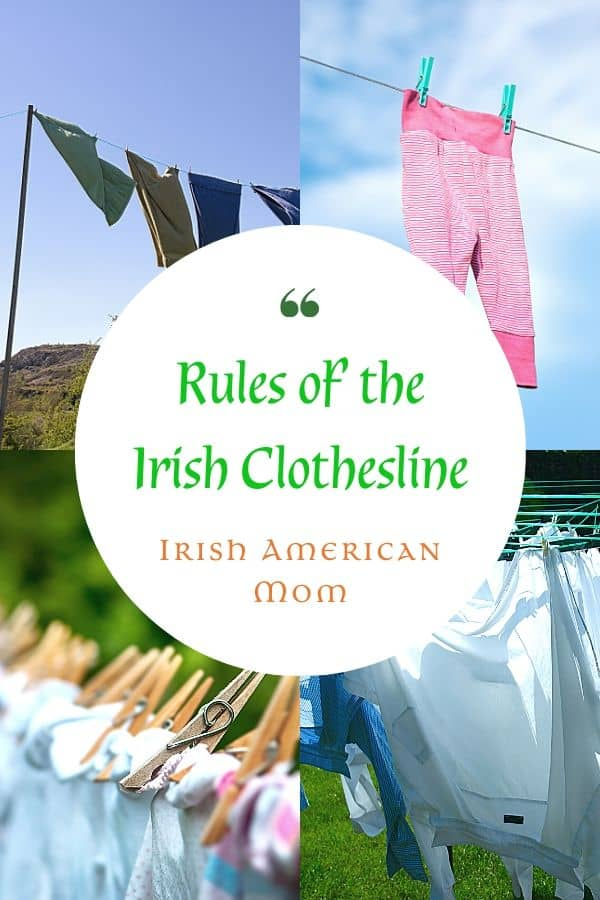 Four picture collage of clothes hanging on a laundry line to illustrate the Rules of the Irish Clothesline