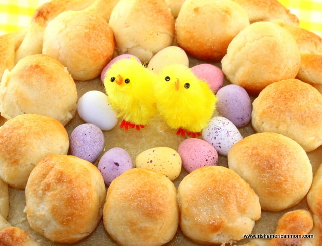 Simnel cake decorated with eggs and an Easter chick
