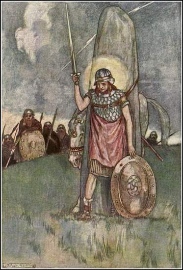 Cuchulainn's Death - illustrated by Stephen Reid 1904