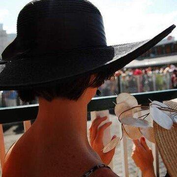 A black Kentucky Derby hat