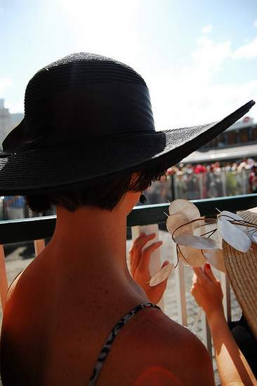 A black Kentucky Derby hat