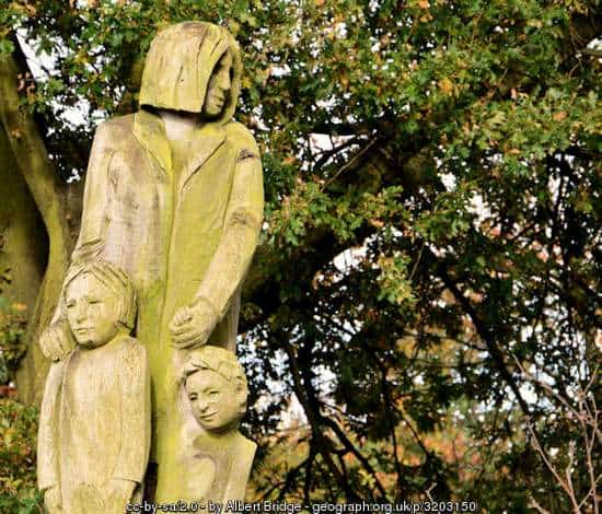 Mother and children sculpture