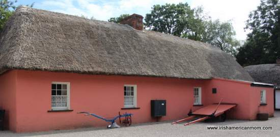 Pink thatched cottage at Bunratty Folk Park