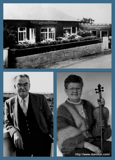 Vintage images of a building and a man and a woman with a fiddle