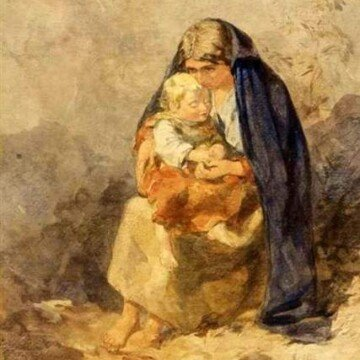 Vintage Irish painting of mother and child
