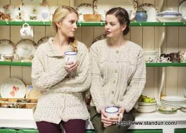 Two aran sweater clad Irish colleens