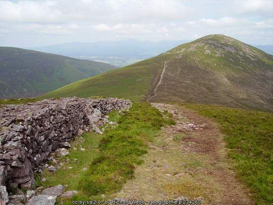A trail across the top of a mountain beside a stone wall