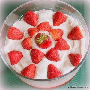 Fresh strawberries decorating trifle