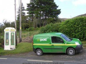 Irish Postal Van and old Irish phone booth