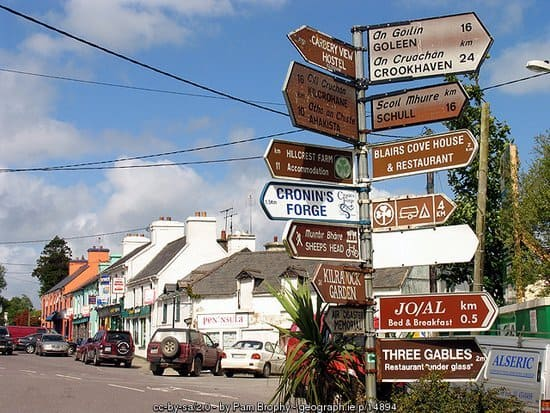 Irish signpost with multiple signs