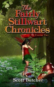 Red fairy with poppies on the cover of the Fairly Stillwart Chronicles