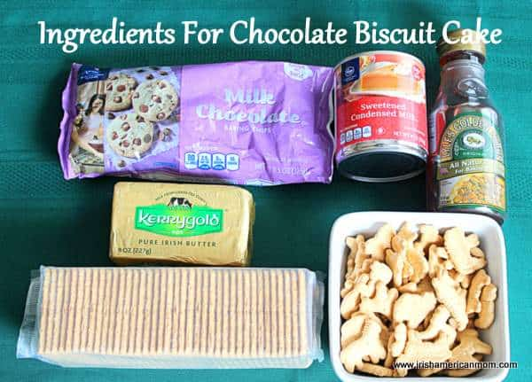 American ingredients for Irish Chocolate Biscuit Cake recipe
