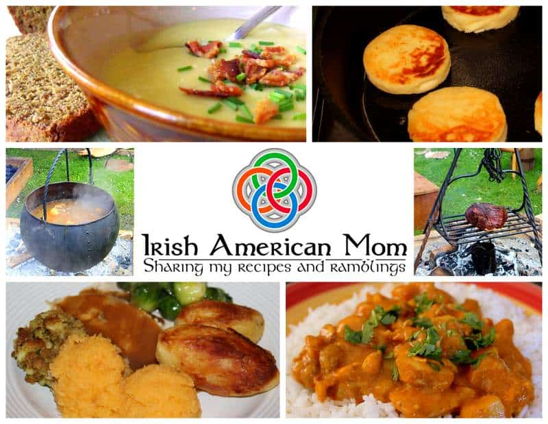 Soup, potato cakes, turkey dinner and curry in a collage