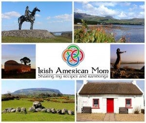 Statues, mountains, coastline and thatched cottage Irish collage