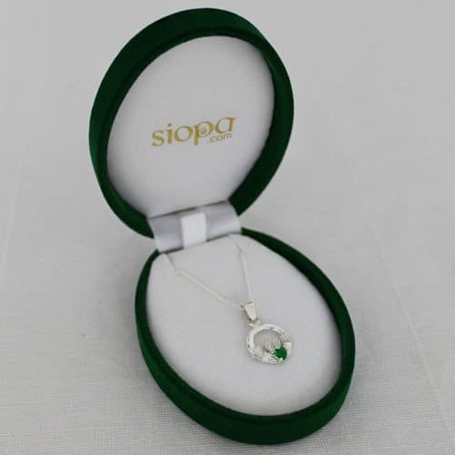 Necklace from Ireland with an emerald encrusted Claddagh Pendant