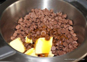 chocolate chips, butter and golden syrup in a bain marie