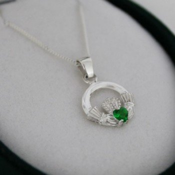Sterling Silver Green Irish Claddagh Pendant