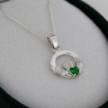 Sterling Silver Green Irish Claddagh Pendant