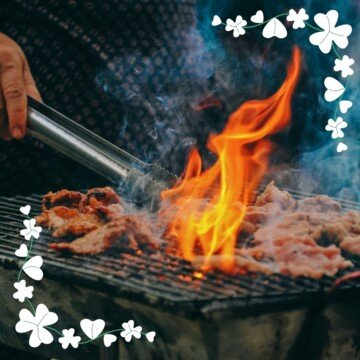 Barbecuing flames with shamrock borders