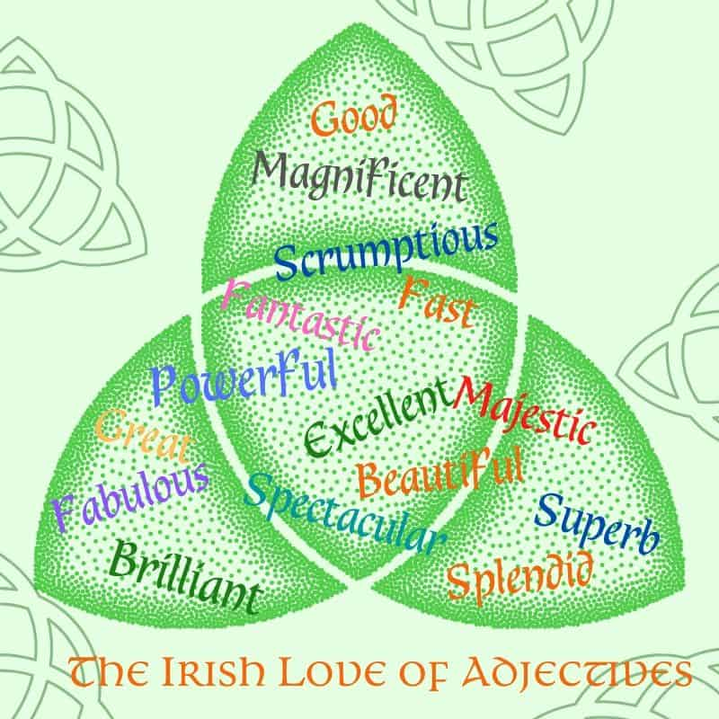 A green Trinity knot graphic displaying adjectives